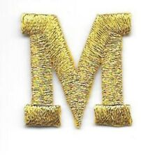 "1"" Tall Bright Metallic Gold Monogram Block Letter M Embroidery Patch"