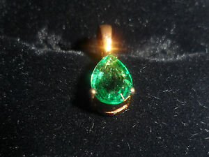 GORGEOUS 9K NATURAL MAJESTIC EMERALD GOLD PENDANT EYE CLEAN MUSEUM QUALITY GEM~*