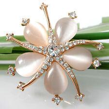 Navachi Sea Stars Starfish Star Flower 18K GP Opal Crystal Pin Brooch BH7041W