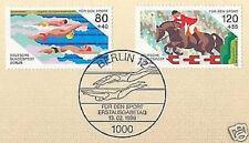 Berlin 1986: Schwimmen +Reiten! Sport Nr. 751+752 mit Ersttagsstempel! 1A! 1804