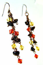 ELEGANT BRONZE MULTI LAYER STONE RED YELLOW BLACK EARRINGS UNIQUE COLORFUL (A20)