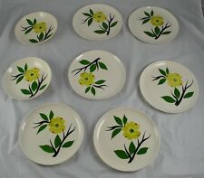 Lot of 8. Plates Bowl Stoneware White Hand Painted Yellow Flower  DD3P6