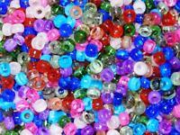 "50 Plastic Transparent ""Semiprecious"" Pony Beads Kids Craft Multi-Color Cool"