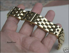 20mm Strait End Solid HEAVY Gold Butterfly Stainless Steel watch band Bracelet