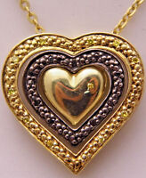 """GEMS TV 18"""" Necklace w/Triple Heart Pendant WOW Gold Plated 925 Sterling Silver"""