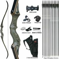 "Details about  /50LB Archery 57/"" Takedown Recurve Bow Set Kit Adult Hunting Sport Arrows RH"
