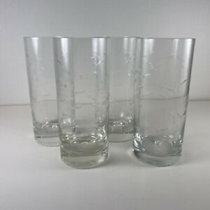 "Rare Crate & Barrel Reef 6 3/8"" Reef Highball Glasses Etched with Fish - 4"