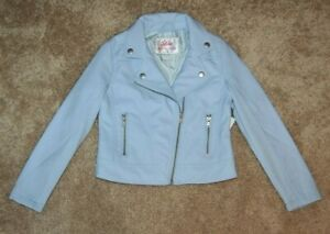 Justice Girl's Blue Faux Leather Moto Jacket Size 6/7 NWT