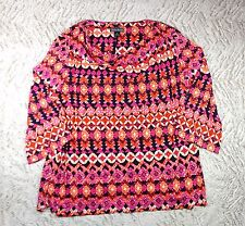 JESSICA HOWARD Orange Pink Tribal Texture 3/4 Sleeve Cowl Neck Tunic, Sz 24W