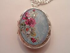 STERLING SILVER PLATED VICTORIAN ROSE OVAL LOCKET NECKLACE 26""