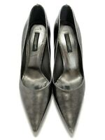 DOLCE & GABBANA PEWTER GRAY METALLIC POINTED TOE PUMPS, 35.5, $595