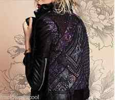 MUUBAA AZTEC CABELA LEATHER BIKER JACKET BLACK US 6 S UK 10 + FREE PEOPLE BAG