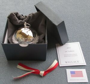 2014 Wallace 44th Annual Silver-Plated Sleigh Bell Ornament Christmas Rose NIB