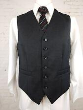 Vtg Mens Single Breast Grey Wool Blend Smart Waistcoat -38- ER47