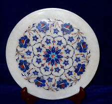 """10"""" Decorative Marble Plate Lapis Inlaid Floral Marquetry Work Home Gift Decor"""