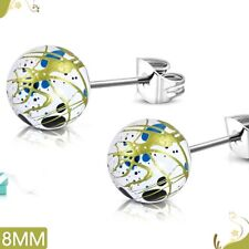 8mm Art Paint White Acrylic Bead Ball with Stainless Steel Stud Earrings pair