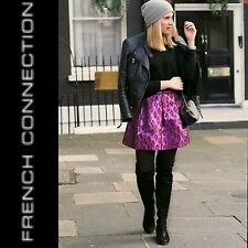 $198 FRENCH CONNECTION Purple Red Metallic Animal Print Mini Skirt ~ 8 M3020