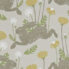 CLARKE and CLARKE(STUDIO G) 100% COTTON CURTAIN FABRIC/CRAFT MARCH HARE Linen