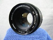 Minolta MC Rokkor PF f/1.7 50mm Lens for Minolta MD Mount Prime