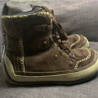 Merrell Winter Boots Puffin Lace Mid Brown Suede Primaloft Women's 7