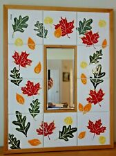 Hand Crafted Falling Leaves Mirror Art Ceramic Tile Wood Frame 26 x22 Wall Mount