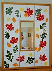 Falling Leaves 26 x22 Mirror Hand Painted Ceramic Art Tile Wood Frame Wall Mount