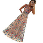 Women Elegant Floral Embroidered Formal Party Evening Dress Prom Wedding Gown