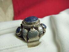 XRARE Vintage Poison Ring TAXCO Mexico MAV Sterling Silver Sodalite 6.8g Sz 6.5