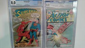 SUPERMAN 220 & ACTION COMICS #441 CGC (8.0)  THE FLASH PUNCH