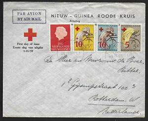 Netherlands New Guinea covers 1955 RED CROSS Airmail FDCcover Hollandia to Rdam