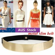 Women Elastic Metal Waist Belt Metallic Bling Gold Plate slim Simple Band #T