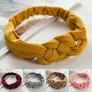 Ladies Girls Twist Knot Headband Elastic Head Wrap Turban Hair Band Pure Colo`