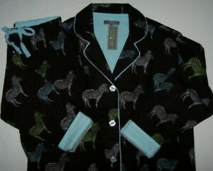 NWT PJ Salvage WARM Black/Pastel ZEBRA Flannel Pajama Set M Pink/Green/AQUA BLUE