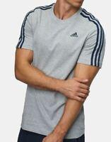 ADIDAS mens t shirt top tee S L short sleeve crew neck cotton GREY  new