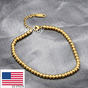 3&4mm Woman 18K Gold RGP Plated Stainless Steel Chain Bead Ball Bracelet