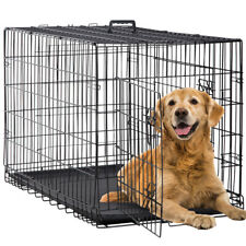 Dog Crate Extra Large Double Door Folding Dog Cage Pet Crate w/Divider&Tray,42""