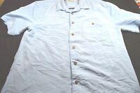 Joe Marlin Large Rayon Poly Blue Button Short Sleeve Men's Shirt