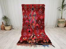 Handmade Azilal Moroccan Vintage Carpet 3'2x7'2 Geometric Red Berber Wool Rug