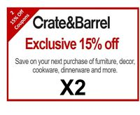 Two (2) Crate and Barrel Coupons 15% Off | Instant Use | Works on Furniture Too