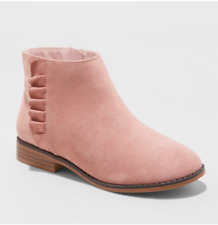 *Cat & Jack Girls'Euna Faux Suede Ruffle Accent Side Zip Ankle Boots Pink size 5