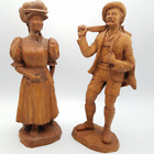 SIC French Hand Carved Wooden Statues  13.5 in tall