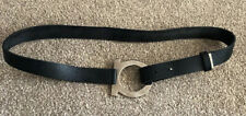 salvatore ferragamo belt, black leather With Silver Detail