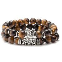 Natural Tiger's Eye Crystal Bead Owl Head Men Women Luck Couple Bracelet Bangle