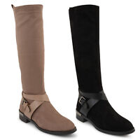 Womens Ladies Low Flat Heel Knee High Boots Winter Zipped Shoe Size 3:8