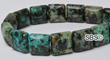 African Turquoise 10x10mm 2-Hole Square Stone Beads (approx. 16 inch strand)