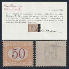 Italia Regno 1870 Segnatasse Cifra cent. 50 ocra e carminio n.9 Certificato MNH