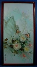 MODERN CHINESE OIL ON CANVAS BRUSH PAINTING 'BUTTERFLIES & FLOWERS' by LEI LEUNG