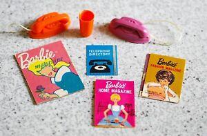 2 Vintage Barbie Phones, Glass & Magazines For Go-Together Furniture Sets