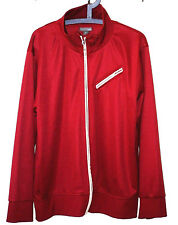H&M Diagonal Pocket Red Polyester Zip Front Retro Casual Track Jacket Men XL