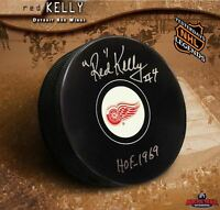 """RED"" KELLY Signed Detroit Red Wings Puck w/ Hall of Fame Inscription"